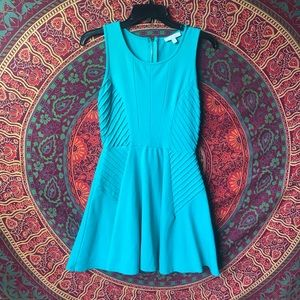 Gianni bini turquoise fit and flare dress